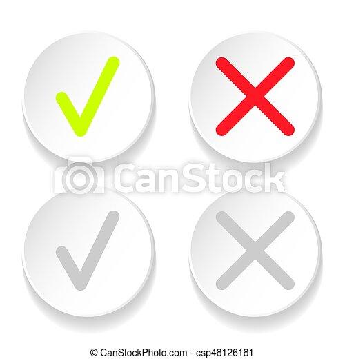 doosje,  Set, iconen, Of,  Mark, groene, lijn, controleren - csp48126181