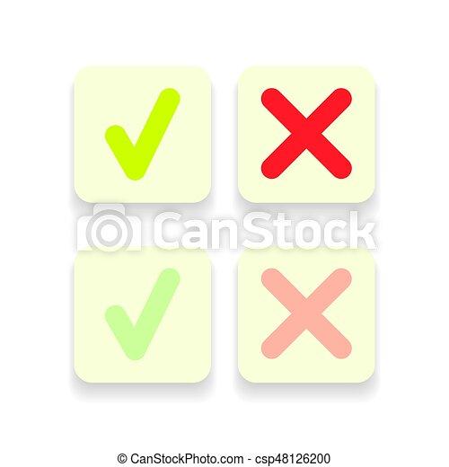 doosje,  Set, iconen, Of,  Mark, groene, lijn, controleren - csp48126200