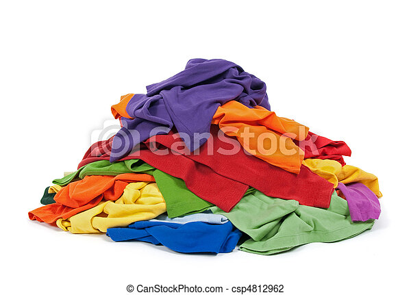 Heap of colorful clothes - csp4812962