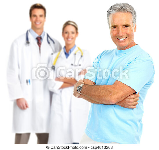 doctor and healthy elderly man  - csp4813263