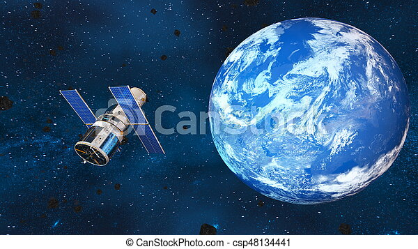 Earth and man-made satellite - csp48134441