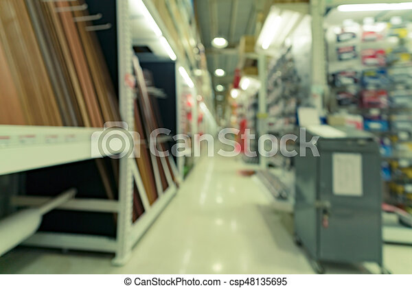 Blurred image of Building materials shop store for background usage