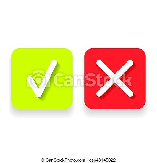 doosje,  Set, iconen, Of,  Mark, groene, lijn, controleren - csp48145022