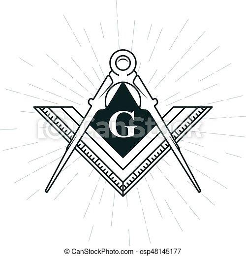 Freemason symbol - illuminati logo with compasses and ruler - csp48145177