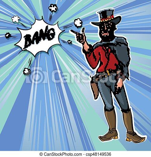 Vintage Retro Clip Art men cowboy Bang vector - csp48149536