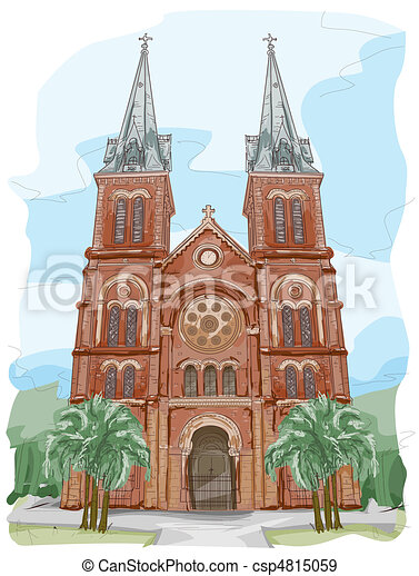 stock illustration of notre dame cathedral sketch of Love Notre Dame Logo Vector Notre Dame Logo PDF