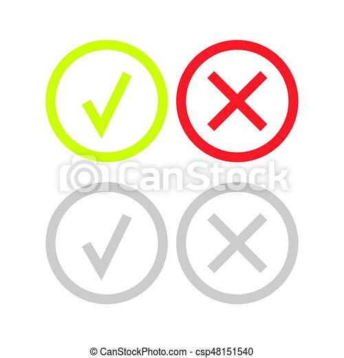 doosje,  Set, iconen, Of,  Mark, groene, lijn, controleren - csp48151540