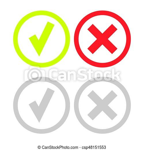 doosje,  Set, iconen, Of,  Mark, groene, lijn, controleren - csp48151553