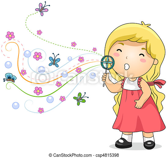 Blowing Bubbles Drawing Bubble Blowing Kid