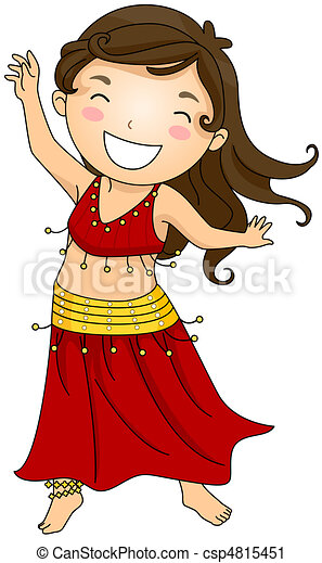 Clipart of Bellydancing Kid - Illustration of a Girl Doing a Belly ...