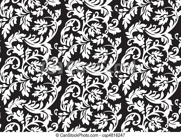 Abstract baroque floral pattern - csp4816247