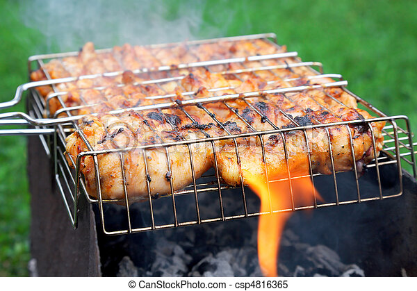 grilled chicken in barbecue grate - csp4816365