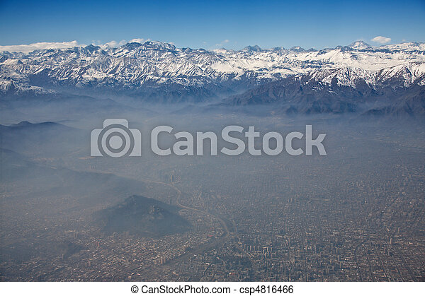 aerial view of Andes and Santiago with smog, Chile  - csp4816466