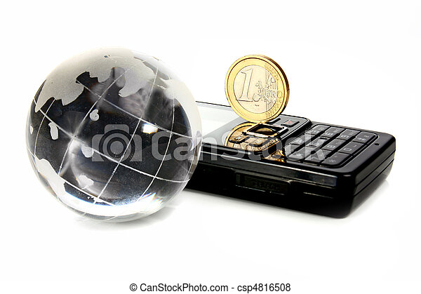 pictures of glass globe is a mobile telephone and coin 1 euro isolated csp4816508 search. Black Bedroom Furniture Sets. Home Design Ideas