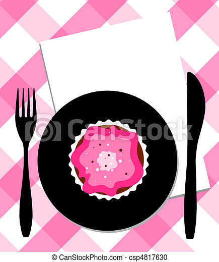 Dessert on plate, knife and fork - csp4817630