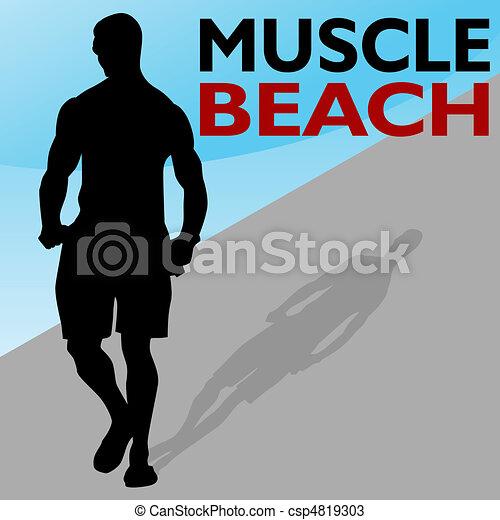 Muscle Beach Man Walking - csp4819303