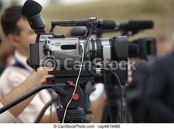 business conference camera journalism - csp4819486