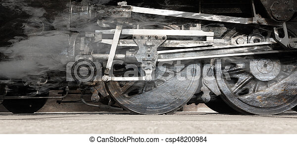 Steam locomotive wheels or steam train wheels and rods closeup for background