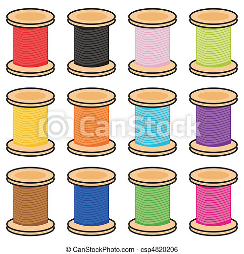 color reels of thread on white - csp4820206