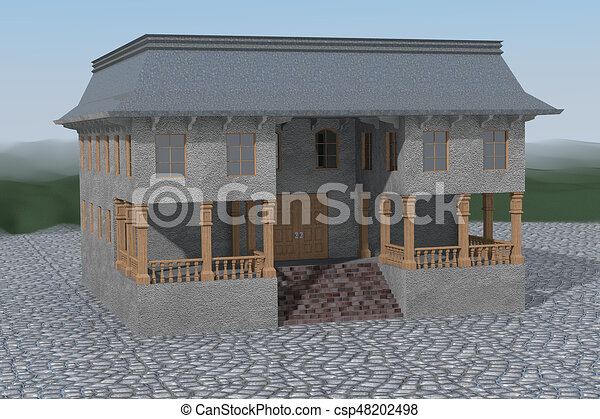 Lonely house on setts - csp48202498