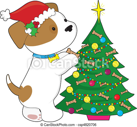 Cute puppy trimming a christmas tree clip art instant for Cute christmas tree drawing