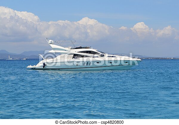 luxury yacht in turquoise Illetes Formentera - csp4820800