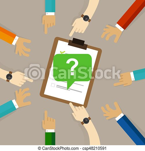 survey feedback get suggestion opinion or review. question mark with people hands around it - csp48210591