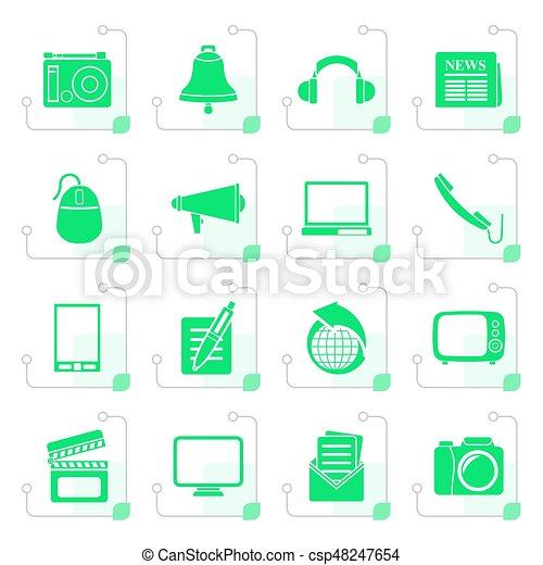 Stylized Communication and media icons - csp48247654