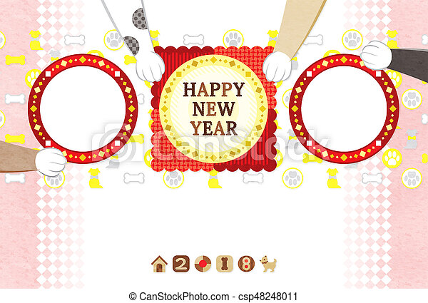 新しい, 年,  2018, カード, 挨拶 - csp48248011