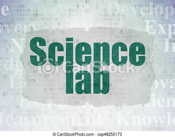 Science concept: Painted green text Science Lab on Digital Data Paper background with Tag Cloud