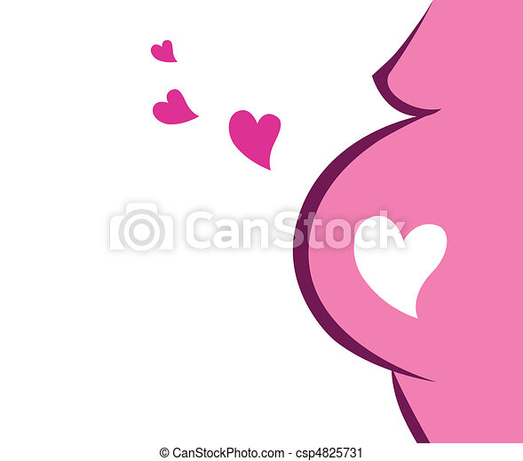 Pregnant Woman Icon With Heart - csp4825731