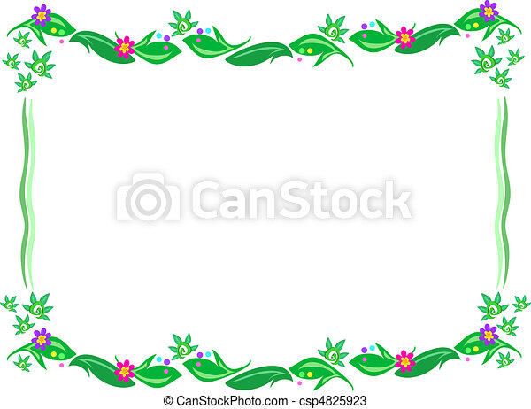 Frame of Broad Leaves and Flowers - csp4825923