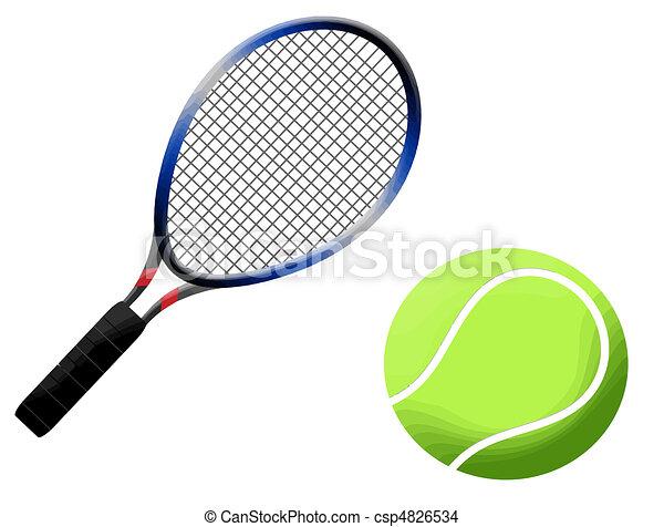Tennis racket and ball - csp4826534