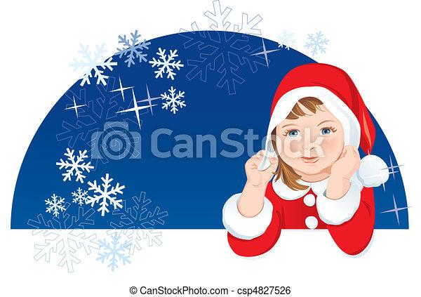 Christmas Dwarf, snowflakes, space - csp4827526