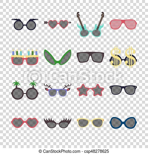 Party colorful sunglasses icon set in flat style isolated on transparent background. Design templates. EPS10. - csp48278625