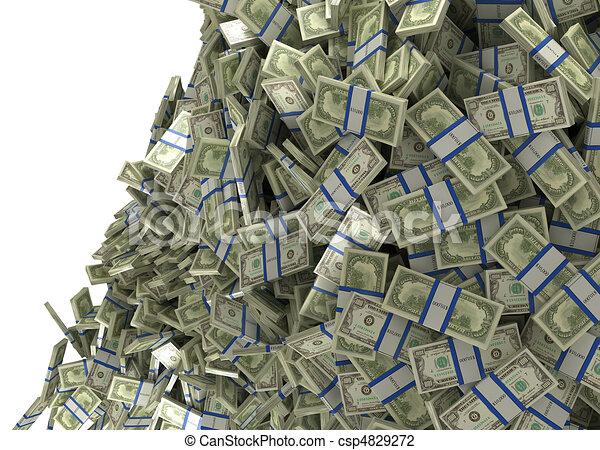 多く, お金, 富, 私達, ドル, 束 ...