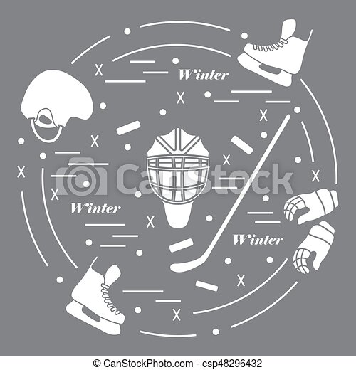 Vector illustration of various subjects for hockey. Including icons of helmet, gloves, skates, goalkeeper mask, hockey stick, puck. - csp48296432