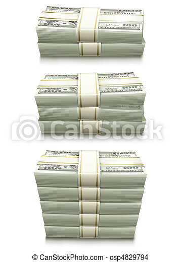 set of dollar bank notes packed money - csp4829794