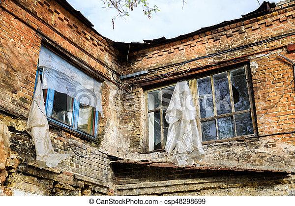 abandoned brick building - csp48298699