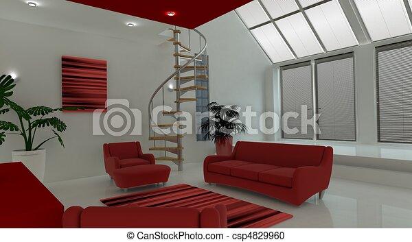 Contemporary interior living space - csp4829960