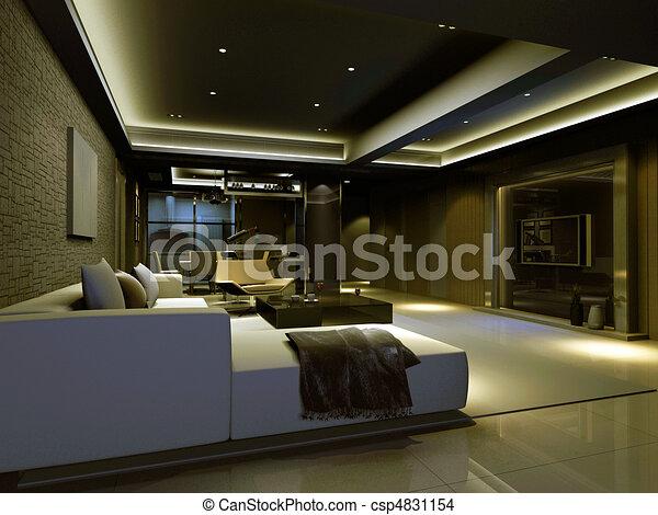 zeichnung von inneneinrichtung, wohnzimmer - interior, modisch, Wohnzimmer