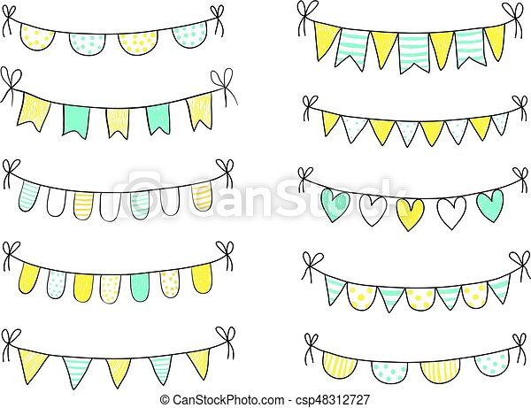Blue and yellow fresh summer buntings with black outline isolated on white background - csp48312727