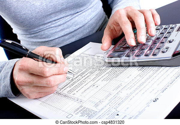 Stock Photography of Tax Form - Filling the Form 1040 Standard US Income Tax...