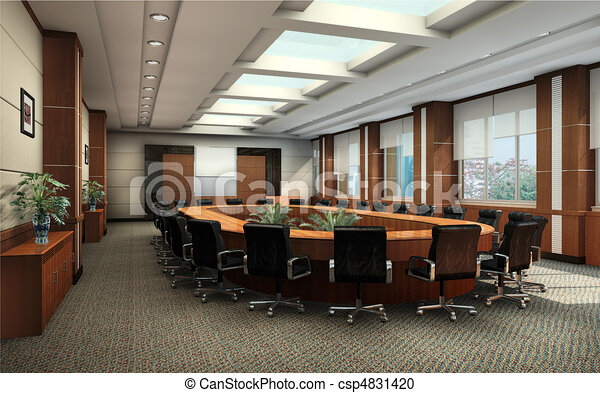 3D rendering of a Conference room - csp4831420