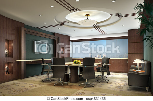 3D rendering of a Conference room - csp4831436