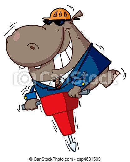 Happy hippo worker - csp4831503