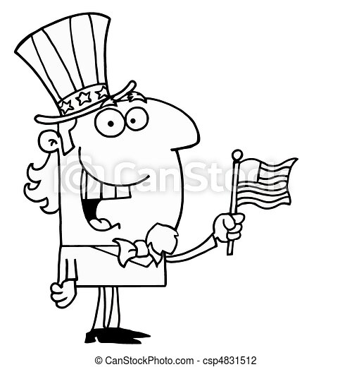 Outlined Cheery Uncle Sam - csp4831512