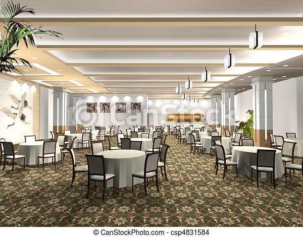 Drawing Of Rendering Restaurant Chinese Style