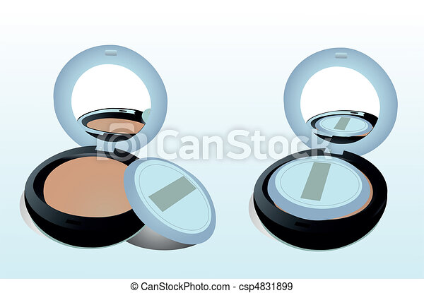 Two boxes of powder with a mirror and a sponge - csp4831899