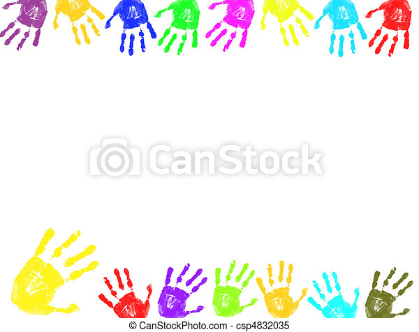 Colorful hand prints frame - csp4832035